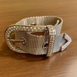 Vintage Mesh Crystal Belt Buckle Bracelet